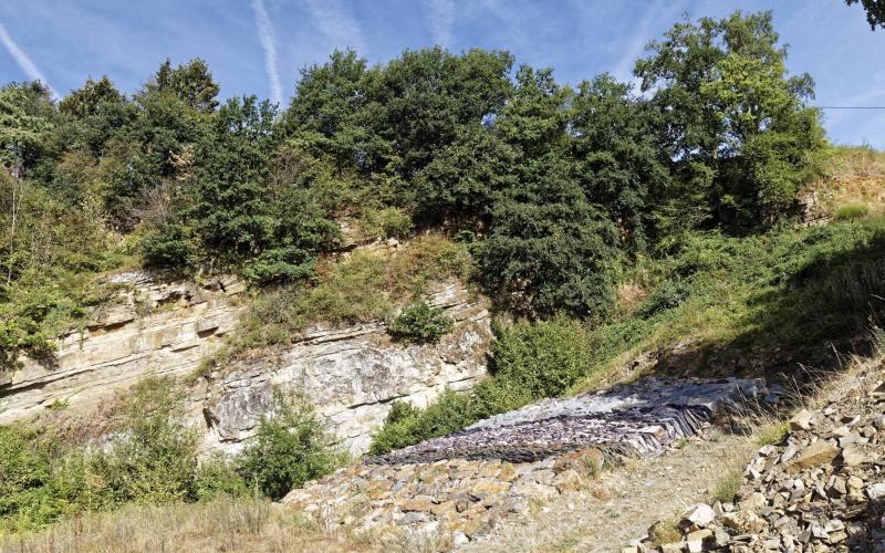 Mur géologique en cours de réalisation (photo: Benoit Houbeau)